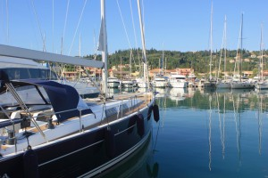 moored boat in marina