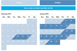 Five Star Vacation Rentals Calendar
