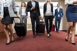 Business People In Hotel Lobby, Mix Race Businesspeople Group Guests Arrive